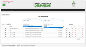 Imagem da tela que lista as demandas existentes